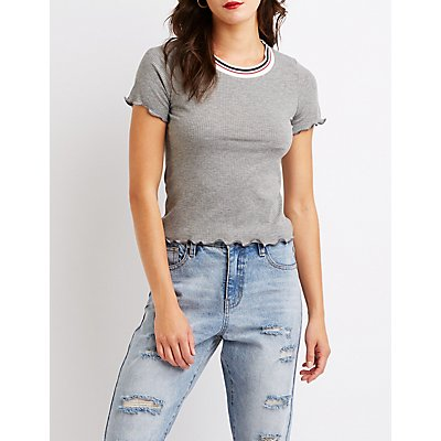 Ribbed Ruffle Trim Top