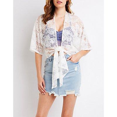 Lace Tie-Front Kimono