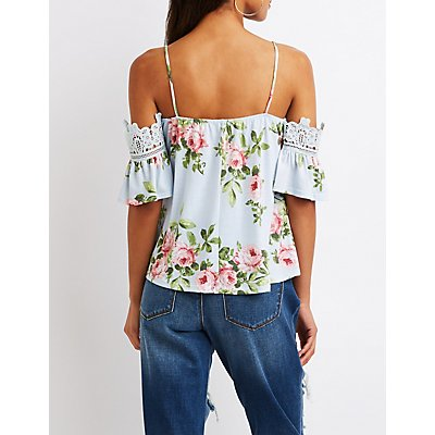 Floral Crochet Cold Shoulder Top