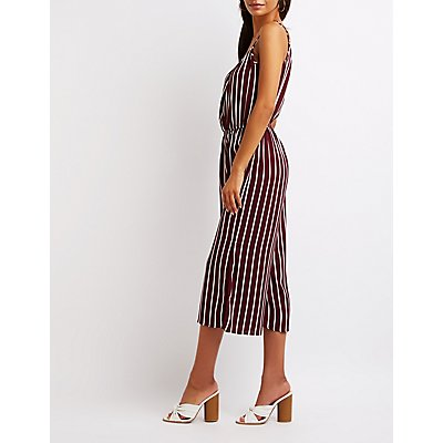Striped Split Leg Jumpsuit