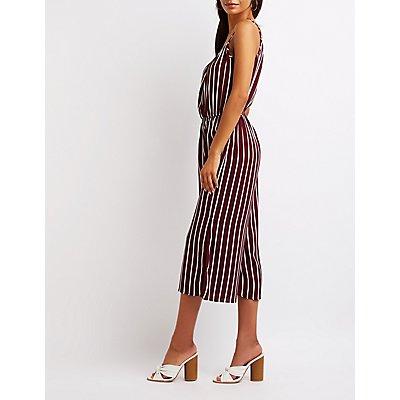 Striped Split Leg Jumpsuit