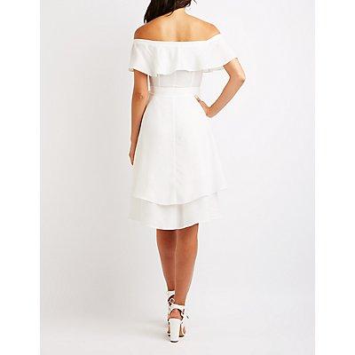 Off The Shoulder Hi Low Dress