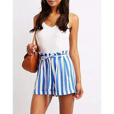 Striped Paperbag Shorts by Charlotte Russe