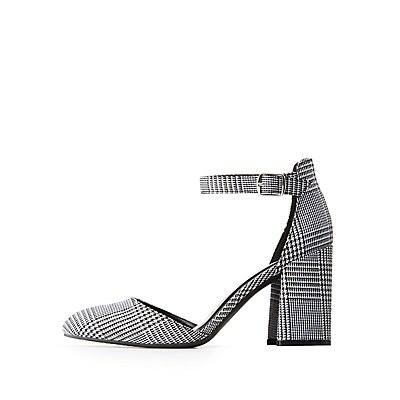 Houndstooth Print Ankle Strap Pointed Toe Block Heel
