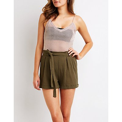 Gauze Tie Front Paperbag Shorts