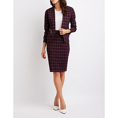 Windowpane Collarless Blazer