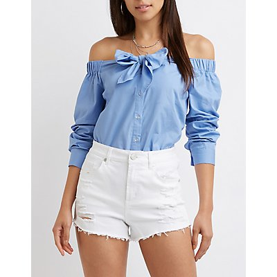 Off The Shoulder Button Up Top