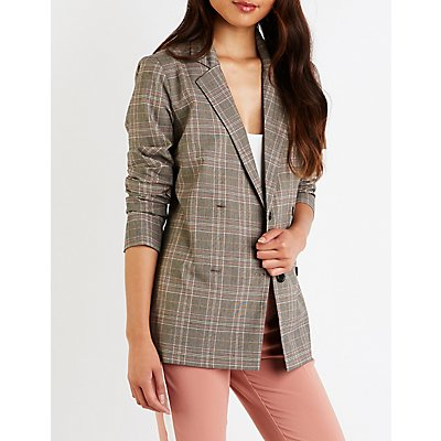 Plaid Double Breasted Blazer