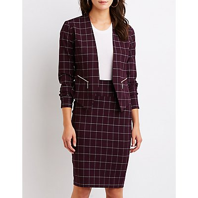 Windowpane Bodycon Midi Skirt by Charlotte Russe