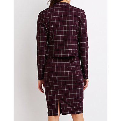 Windowpane Bodycon Midi Skirt