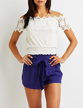 Crochet Off The Shoulder Crop Top