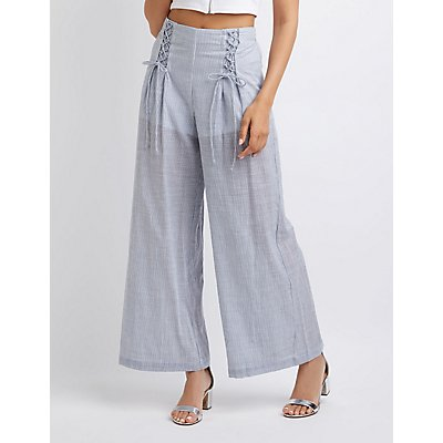 Striped Lace-Up Detail Wide-Leg Pants