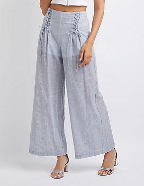 Striped Lace-Up Detail Wide-Leg Pants