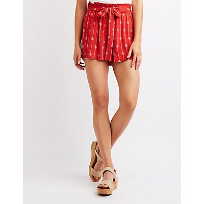 Printed Tie-Front Paperbag Shorts