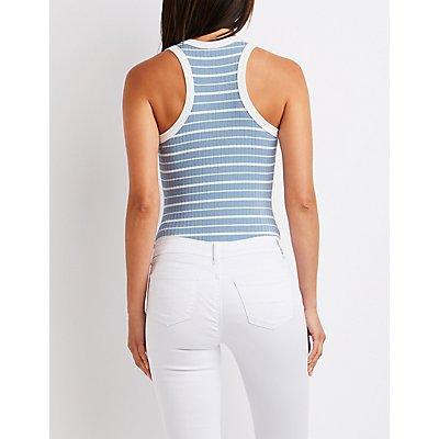 Striped Ribbed Bodysuit