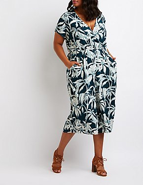 Plus Size Tropical Print Wrap Jumpsuit