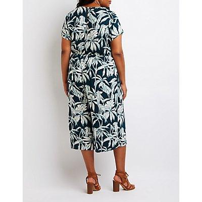 Plus Size Tropical Print Wrap Jumpsuit