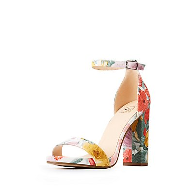 Floral Ankle Strap Sandals