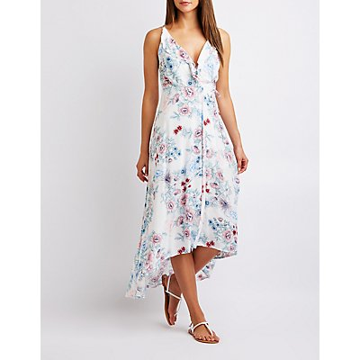 Floral Lattice Back Wrap Dress