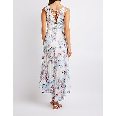 Floral Lattice Back Wrap Dress