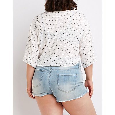 Plus Size Polka Dot Tie Front Top