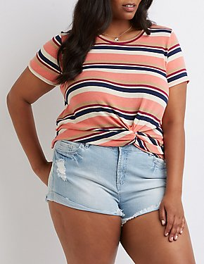 Plus Size Striped Knot Tee
