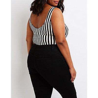 Plus Size Striped Au Revoir Bodysuit