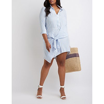 Plus Size Striped Button Up Dress