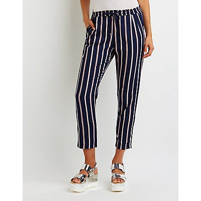 Striped Drawstring Trousers by Charlotte Russe