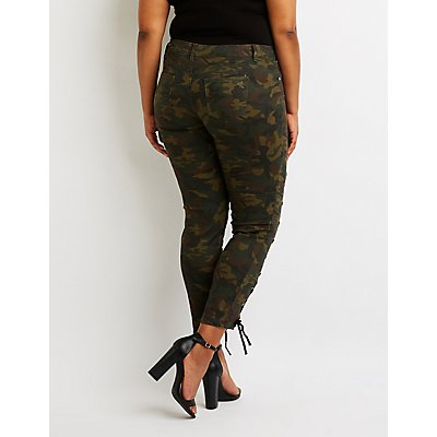 Plus Size Camo Lace-Up Skinny Jeans