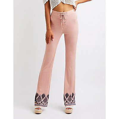 Border Print Lace Up Pants