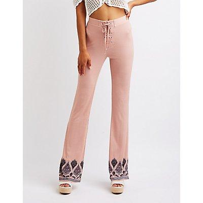 Border Print Lace Up Pants