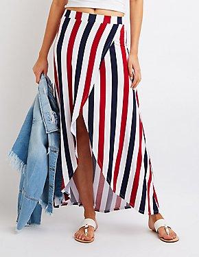 Striped Wrap Maxi Skirt