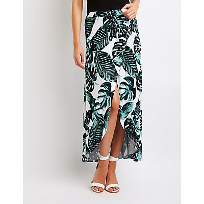 Palm Print Wrap Maxi Skirt