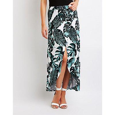 Palm Print Wrap Maxi Skirt