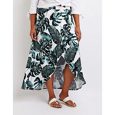 Plus Size Printed Wrap Maxi Skirt