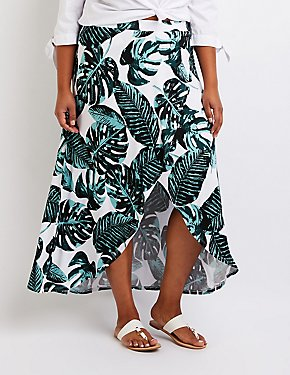 Plus Size Printed Wrap Maxi Skirt