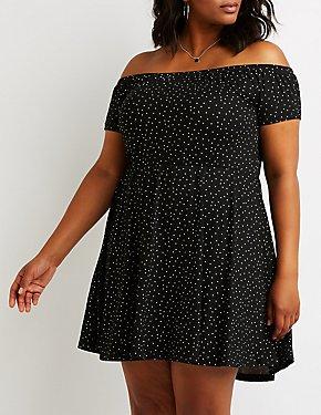 Plus Size Polka Dot Skater Dress