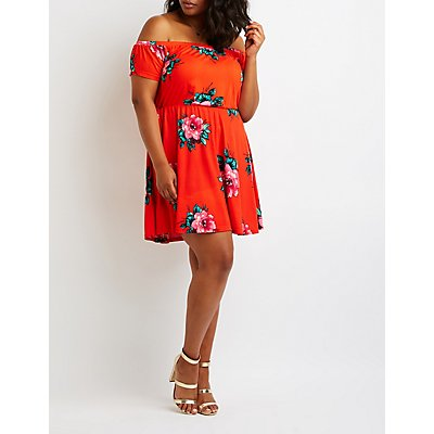 Plus Size Floral Off The Shoulder Dress
