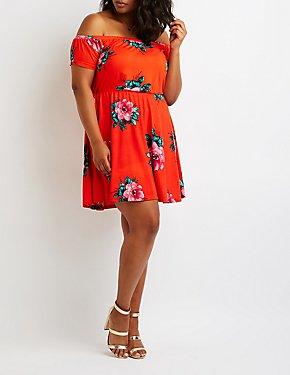 Plus Size Floral Off The Shoulder Dress