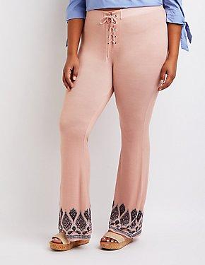 Plus Size Border Print Lace Up Pants