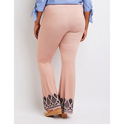 Plus Size Border Print Lace Up Pants