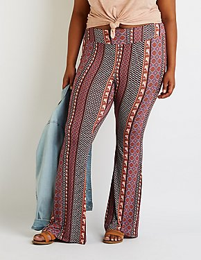 Plus Size Printed Flare Pants