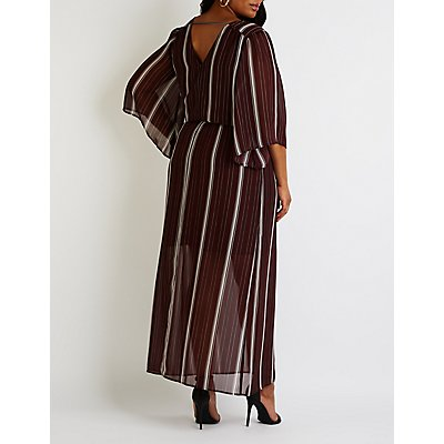 Plus Size Striped Wrap Maxi