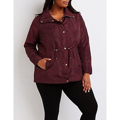 Plus Size Drawstring Anorak Jacket