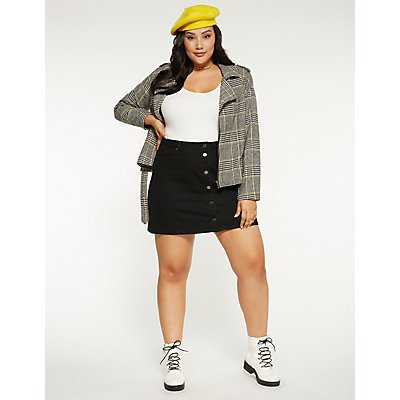 Plus Size Houndstooth Moto Jacket