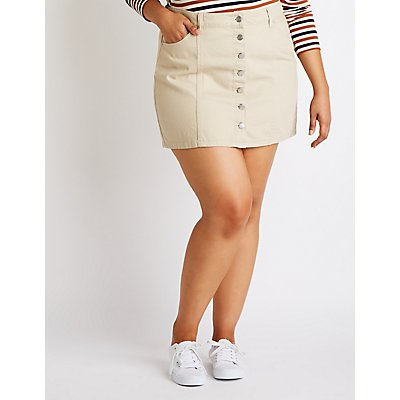 Plus Size Refuge Button-Up Denim Skirt