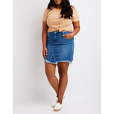 Plus Size Cello Frayed Denim Skirt