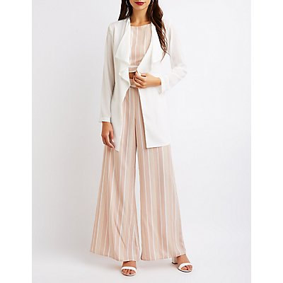 Tie Front Collarless Duster