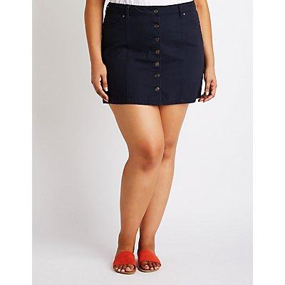 Plus Size Refuge Button-Up Denim Skirt